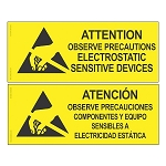 06750 SIGN, ATTENTION, RS-471, ENGLISH-SPANISH, 4'' x 10''