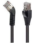 TRD845RSBLK-5  Category 5E Shielded 45° Patch Cable, Straight/Right 45° Angle, Black 5.0 ft