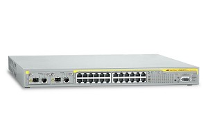 AT-8624POE-10-V2 Layer 3 switch with 24-10/100TX ports plus 2 Uplink Module Bays pre-populated with AT-A65 Modules, AC Power Supply
