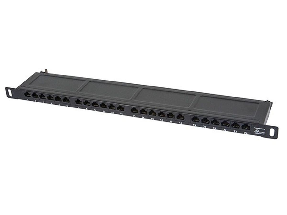 10036 Monoprice SpaceSaver 19-inch Half-U UTP Cat6A Horizontal 180-degree Patch Panel_ 24 Ports Dual IDC